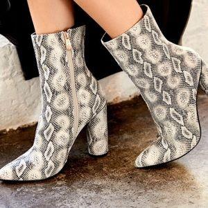 Trendy Mid Ankle Snakeskin Booties